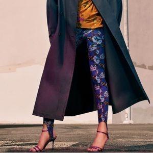 Zara purple floral print stirrup pants